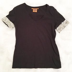 Tory Burch black v-neck silver sequence top XS